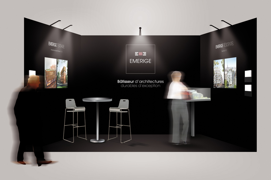 Emerige - Habillage Stand salon  - Ynfluence - agence de communication globale Paris